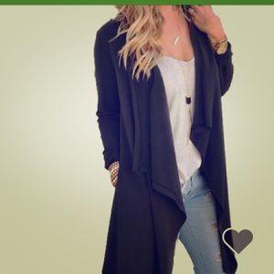 women's long sleeve black cardigan